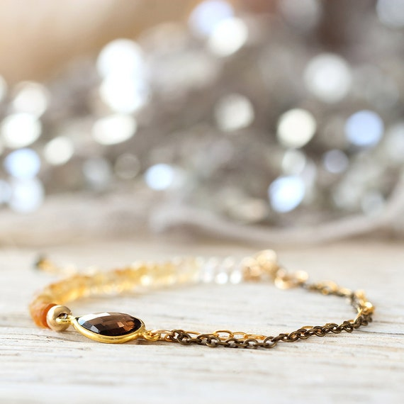 Citrine & Smoky Quartz Bracelet - November Birthstone Bracelet