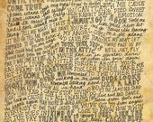 Aerosmith Lyrics and Quotes - 8x10 handdrawn and handlettered print on antiqued paper rock music lyrics