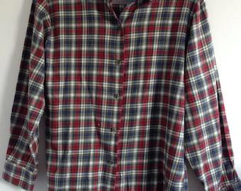 Vintage 90s Plaid Check Flannel Shirt Size 10