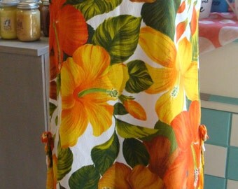 pacific isle HAWAIIAN BARKCLOTH SHIFT dress orange hibiscus M (A2)