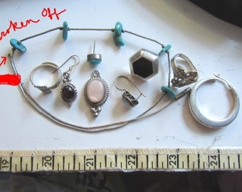 Sterling Silver Lot Single Gemtsone Earrings Destash Turquoise Garnet Onyx 27.7 Grams Rings Fine Jewelry Parts Southwestern