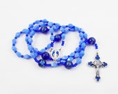 Immaculate Conception Rosary, Baby Blue & Cobalt Wire Flexwire Rosary - Miraculous Medal Center, Byzantine Cross - Blue Enamel - Christmas