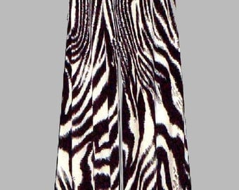 """In Stock 1 Day Shipping Palazzo Pant 25"""" Wide Legs ,High Waist  Black and White Zebra"""