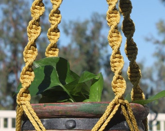 HELIX - Handmade Macrame Plant Hanger Plant Holder with Wood Beads - 6mm Braided Poly Cord in GOLD
