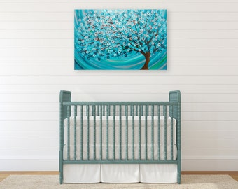 Tree Painting in Teal & Turquoise - Winter Morning Tree Abstract Tree Painting - Teal and turquoise wall art tree painting on canvas