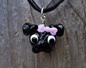 Pug with Bow - Glass Pendant