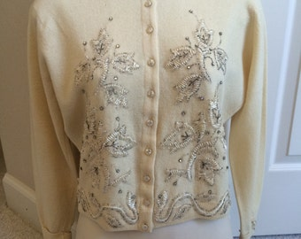Vintage 1950s Rhinestone Cardigan 50s rhinestone cardigan Cashmere Beads Cream Color Size Small Rhinestones Beads on Back side and sleeves
