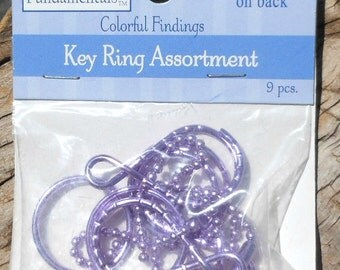 9 Piece Pack of Key Rings, Split Rings, Ball Chain, Double Loop Rings, Purple Metal Craft Supplies, Beading Supply, Key Ring Mix