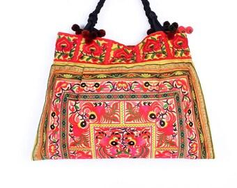 Orange Tote Bag Hill Tribe Embroidered Fabric With Pom Pom Strap (BG121-OS)