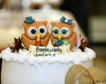 Love bird owl cake topper for wedding, teal and copper wedding
