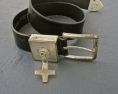 Industrial Belt Womens Black Leather GOTH Punk Rocker Heavy Metal Hanging Silver Cross Vintage 90s Contempo Brutalist Silver Tone SIZE SMALL