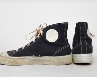 60s Basketball Sneakers GallenKamp Black Canvas High Tops Made in USA Tennis Shoes 7.5 Men 9 Womens