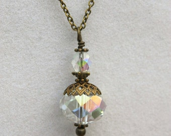 Antique Brass Crystal Bauble Bead Pendant, Victorian Inspired Jewelry, Crystal Pendant, Crystal Necklace