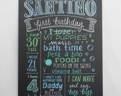 """15""""x20"""" art board, first birthday chalkboard style custom ink drawing, the original Favorite Things Poster™, little man bow tie"""