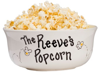 Hand Painted Personalized Family Popcorn Bowl Large Ceramic Pop Corn Bowls Movie Night Hand Paint Popcorn Bowl Tub Bucket Sleepover POPCER