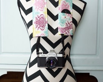 DSLR Camera Strap Cover- lens cap pocket and padding included- Light Scrolls
