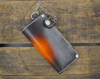 Chain Wallet ready to ship ( Biker Wallet ~ leather wallet ~ motorcycle wallet ~ long wallet ~ trucker wallet ) Outlaw Leather USA