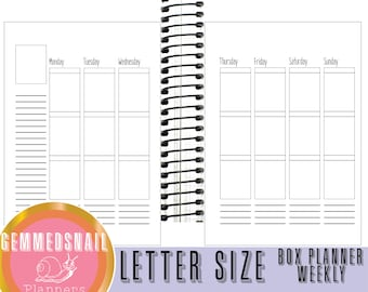 Letter size planner pages.  8.5 x 11 planner.  Weekly printable planner inserts. vertical planner inserts for letter size planners