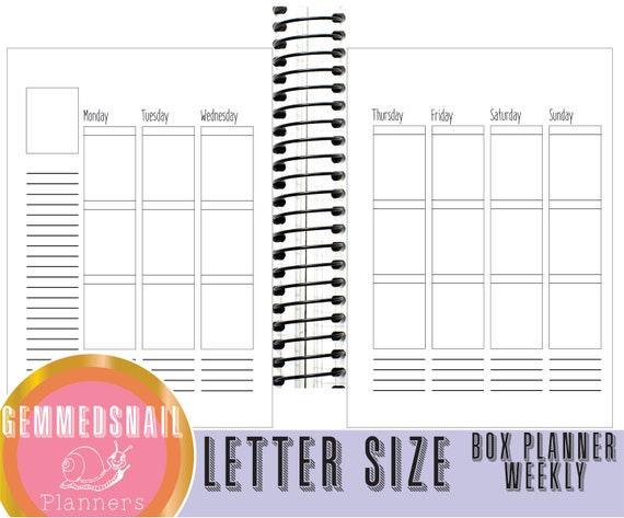 Letter size planner pages 8 5 x 11 planner Weekly