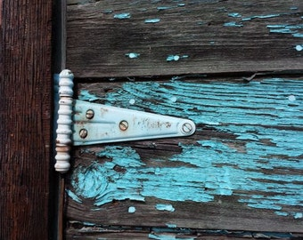 Shabby Chic Beach Decor Art Print of Old Barn Hinge