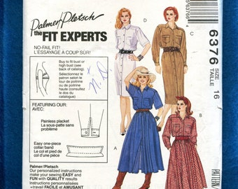 McCall's 6376 Western Shirt Dresses with Flared & Staight Skirt Size 16 UNCUT