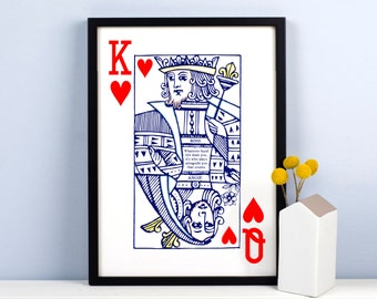 Personalised Playing Card Print, Queen of Hearts, Couple Gift, Personalized Print, Wedding Gift, Husband Gift, Life Quote, Engagement Gift