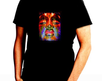 Colorful Buddha Head Men's Black T-Shirt