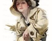 Harrison Fisher Art Lady Beige Coat and Hat Printable Vintage Illustration Digital Download JPG Image