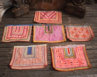Embroidered Vintage  Set of 6 Tribal Textile By The Hmong Hilltribe