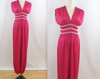 Raspberry Lingerie Jumpsuit - Vintage 1970s Romper in Medium Large