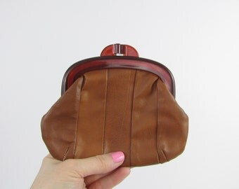 Leather Coin Purse - Vintage 1970s Frame Pouch in Cognac by Gimbel Accessories