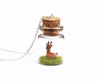 Roe Deer Necklace, Spring Woodland Terrarium, Nature, Miniature Wildlife, Animal in a Bottle - 16 inch chain, tiny glass bottle jar necklace