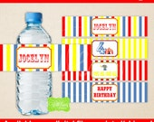 Circus Water Bottle Labels - Carnival Water Bottle Wraps - Carnival Bottle Labels - Digital and Printed Available