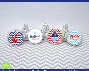 Nautical Chocolate Kiss Stickers - Sailing Baby Shower Sticker - Nautical Candy Stickers - Chevron Baby Shower Sticker - Digital & Shipped