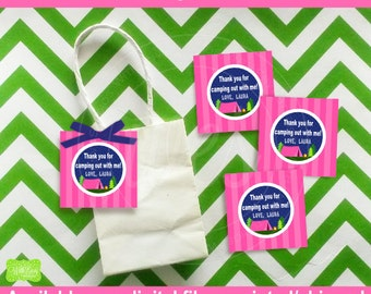Glam Camping Favor Tags - Girl Camping  Thank You Tags - Camping Gift Tags - Glamping Favor Tags - Digtal & Printed