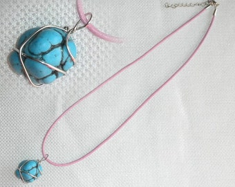 Wire Wrapped turquoise Pendant on Pink Leather Cord with extender Turquoise Magnesite Wrapped Pendant Pink 18 inch Leather Cord with Silver