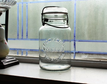 Vintage Decker's Iowana Quart Canning Jar with Glass Lid