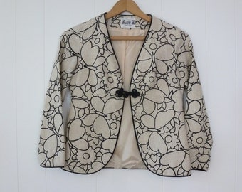 60's Mod Butterfly Jacket Flower Power Classic Novelty Print Cropped Blazer Cotton Linen S