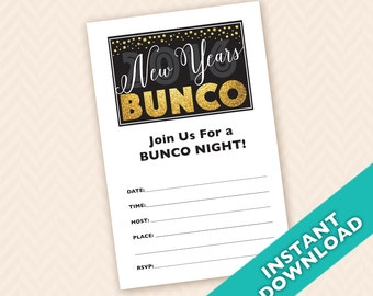 Downloadable New Years Bunco Invitation