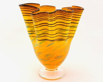 Hand Blown Art Glass Vase in Orange and Yellow