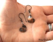 Copper Heart Earrings with Crystals