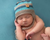 Hand Knitted 'D'Arcy' Baby Toddler, Girls Boys Striped Ear Flap Hat, NB to 36 Months, Custom Colour, Made to Order