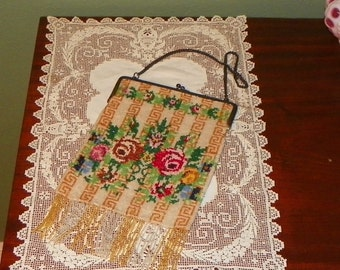 Antique Beaded PURSE Greek Key and Floral German silk Lining Germany