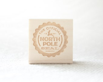 North Pole Stamp Christmas Official Seal Stamp, Christmas Stamp, Holiday Stamp, North Pole Wooden stamp