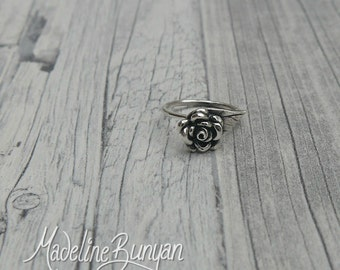 Individually Hand-formed Fine silver Rose ring size M 3/4, 7