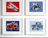 transportation boys wall art - set of 4 - airplane truck motorcycle nursery, childrens art - art for boys nursery - boy room decor