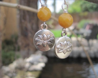 Double Sided Silver Lotus Charm Boho Earrings with Faceted Butter Yellow Jade Stones