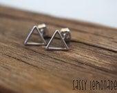 Dainty Triangle Post Earrings / Silver Triangle Earrings / Triangle Studs