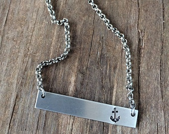 Anchor Bar Necklace / Hand Stamped Necklace / Bar Necklace / Nautical Bar Necklace
