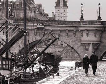 Paris Photography - Stroll by the Seine, Street Scene, Paris Home Decor, Black and White Sepia Fine Art Photograph